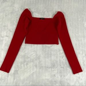 Forever 21 Cropped Off the Shoulder Sweater Sz Medium Bright Red Tight Knit